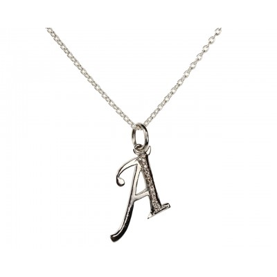 Alphabet A pendant with Diamonds